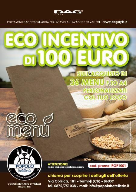 Ecoincentivo di 100 Euro sull'acquisto di menù personalizzati in collaborazione con DAG Style